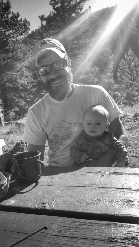 sam and forest in camp-bw